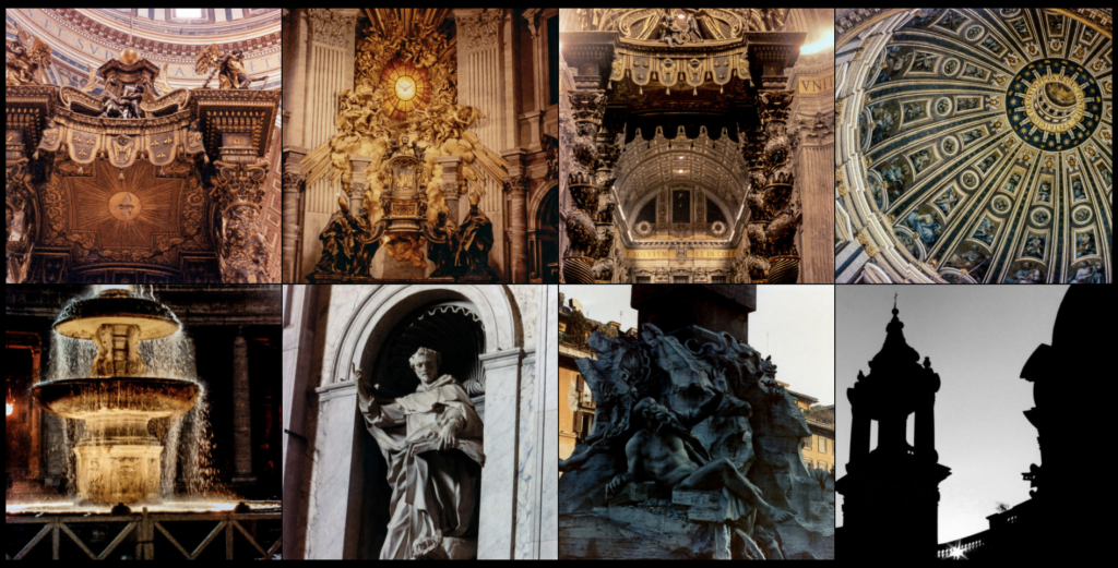 Grid of photos of St Peter's Baldacchino, the alabaster window, the Baldacchino again, and the dome. The second row has the fountain in the Piazza Vaticano, the statue of St Dominic, the fountain of the four rivers in the Piazza Navona, and the sun setting behind San Agnese en Agonea.