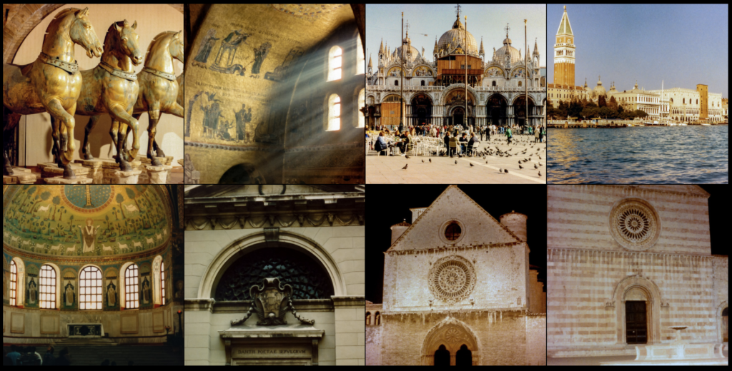 A grid of photos from Venice, Ravenna, and Assisi