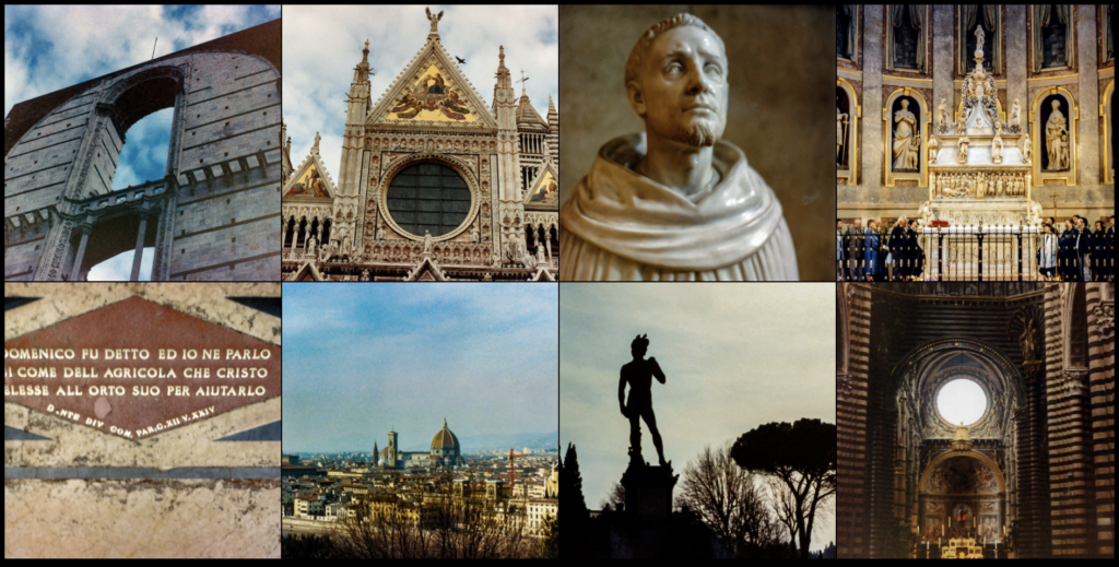 A grid of pictures of Siena, the tomb of St. Dominic in Bologna, and Florence.