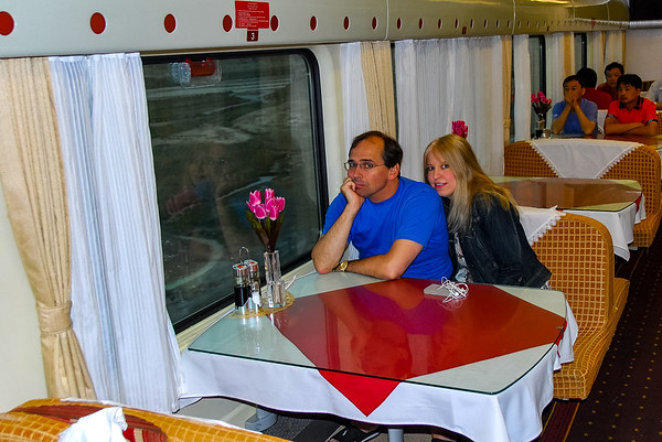 Tim and Corinne in the dining car of the train to Lhasa.