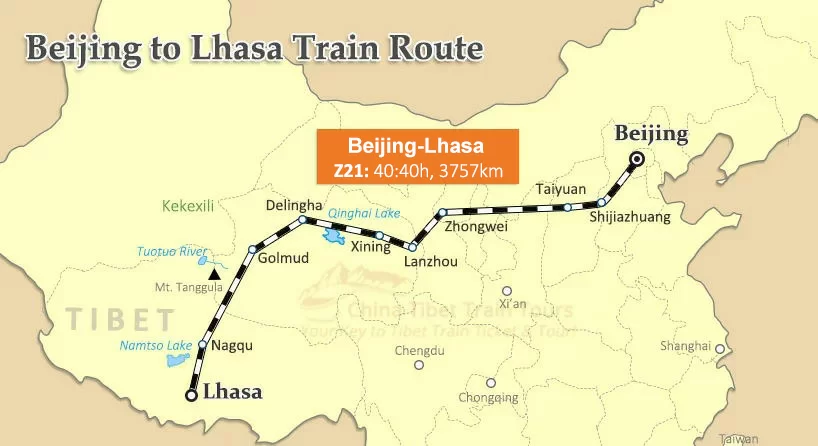 A map showing a train from Beijing in the north east across to the western side turning southward at Delingha to Lhasa.