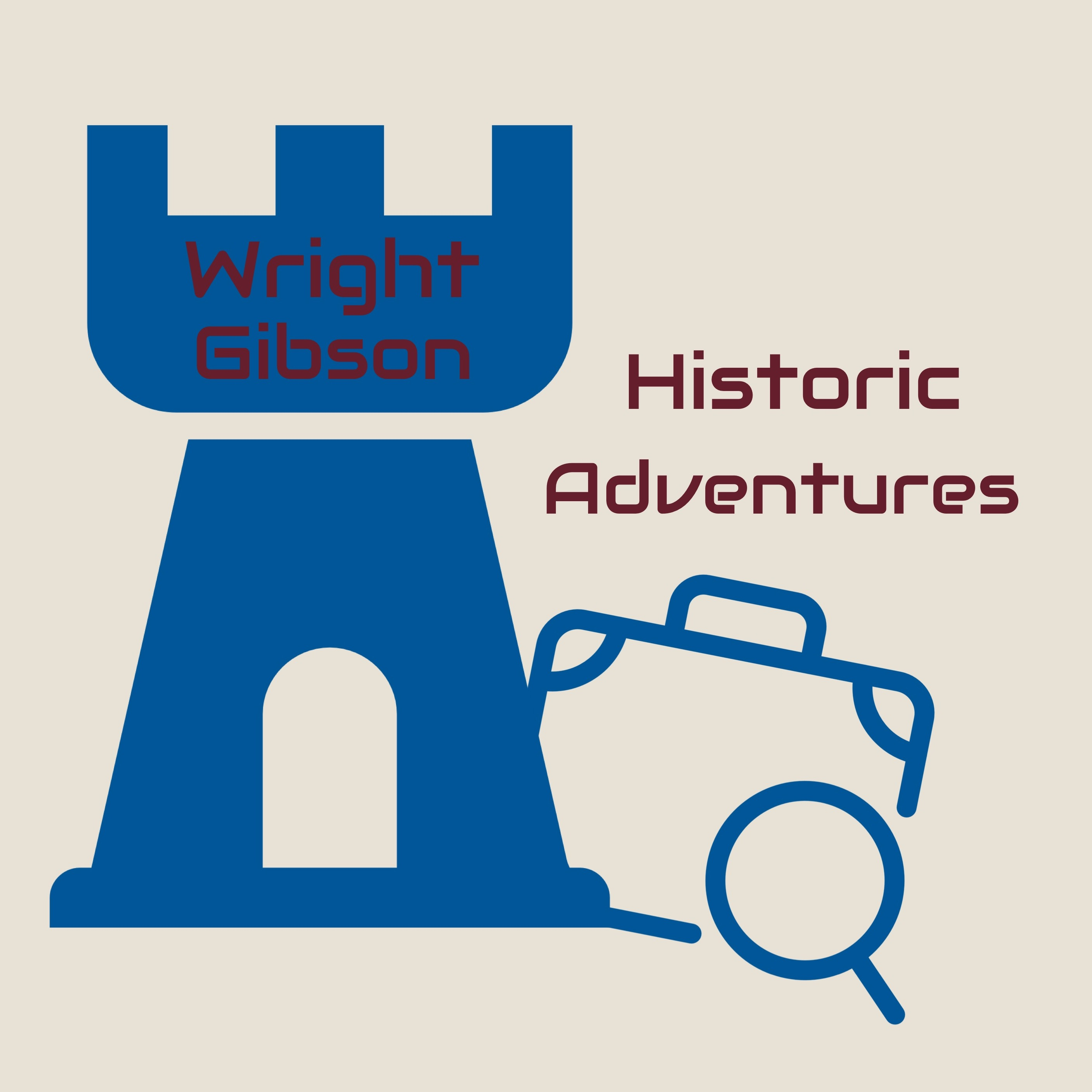 Wright Gibson Historic Adventures logo featuring a castle and suitcase icon